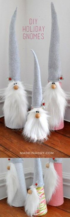 These are so CUTE! DIY Holiday Gnomes Easy Tutorial on http://madeinaday.com