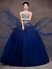 Fiesta formal Vestido - Azul Marino Oscuro Corte Evasé Hasta el Suelo - Strapless Satén/Tul/Satén Elástico