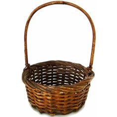 Vintage wicker gathering basket, American, hand woven (c 1920s) ($25) ❤ liked on Polyvore featuring home, home decor and small item storage
