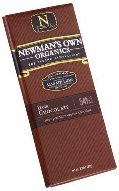 Newman's Own Organics Organic Premium Chocolate Bar, Dark 54% Cocoa, 3.25-Ounce Bars (Pack of 12) - http://goodvibeorganics.com/newmans-own-organics-organic-premium-chocolate-bar-dark-54-cocoa-3-25-ounce-bars-pack-of-12/