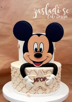 Ideas Cake Desing Compleanno Topolino For 2019 Bolo Do Mickey Mouse, Mickey And Minnie Cake, Minnie Mouse Cookies, Mickey Mouse Birthday Cake, Fiesta Mickey Mouse, Mickey Cakes, Baby Birthday Cakes, Pastel Mickey, Sparkle Cake