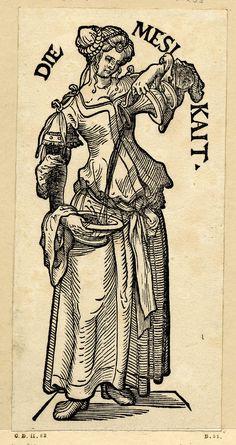 """""""Die Mesikait"""", Serie """"Die sieben Tugenden"""", c.1510, Hans Burgkmair der Ältere (1473-1531)"""