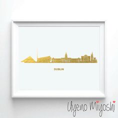 Dublin Skyline Gold Foil Print Gold Print Map by UyenoMiyoshi
