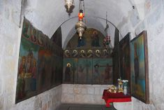 A medieval Monastery located in the valley of the Cross. Here, according to tradition, grew the tree of the Cross. Chariots Of Fire, Birth Of Jesus, Holy Cross, The Monks, 11th Century, Byzantine, Pilgrim, Fresco, Medieval