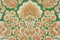 1970's Retro Vintage Wallpaper Orange and Green by RosiesWallpaper