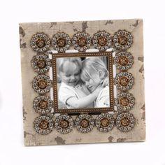 Distressed Beige Jeweled Rosette Frame, 4x4   Kirkland's