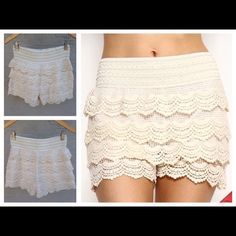 BOGO 1/2 OFF!🆕 Cream Crochet Lace Shorts Brand new Crochet Lace Layered Shorts with banded waist. Fully lined with plenty of stretch. 85% Cotton 15% Poly. Sizes are S/M and M/L. Size S/M will fit sizes 4-6 and size M/L will fit sizes 6-8. 🆕Brand New🚫No Trades👍🏼Comment which size you would like for a personalized listing. This listing is for Cream.**These run a bit small so any questions please ask!** LDB Shorts