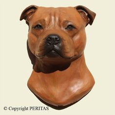 Hand painted red Staffordshire Bull Terrier dog by ARTPERITAS, $120.00