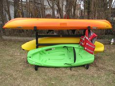 This is a light weight Kayak Storage Rack that can be moved into the garage in the winter and down by the river in the summer.  We needed a way to sto...