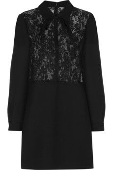 Valentino Lace-paneled wool and silk-blend crepe dress | NET-A-PORTER