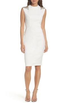New Vince Camuto Beaded Sheath Dress, Navy Silver fashion dress online. [$188]>>newtstyle Shop fashion 2017 <<