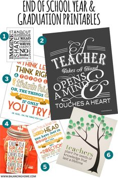 We have accumulated quite a few printables around here that are handy for the end of the year–as thank you to teachers, graduation gifts, scrapbooking or memory keeping or to be used as ways to commemorate the end of the year 1. Subway School Art 2. A Teacher Takes a Hand 3. Dr. Seuss Quote- …