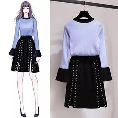 Korean Fashion – How to Dress up Korean Style – Designer Fashion Tips Korea Fashion, Asian Fashion, Look Fashion, Girl Fashion, Womens Fashion, Fashion Drawing Dresses, Fashion Illustration Dresses, Fashion Dresses, Fashion Design Drawings