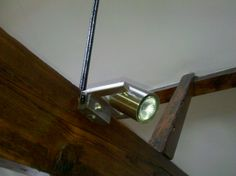 Adjustable halogen spot light on a feature beam