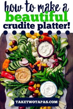 The Easiest Crudité Tray can be put together in less than 10 minutes for a stress-free holiday party! Love eating veggies? Wish you could throw together a vegetable tray that is crowd pleasing and will wow all your friends and family? Check out all these tips for putting together a great tray of veggies for any party or even just afternoon snacking with the kids! #crudite #platter #dip #display #board #vegetable #CruditéTray #CruditéPlatter #veggietray Vegetable Tray Display, Vegetable Platters, Vegetable Dips, Veggie Tray, Healthy Meals For Kids, Kids Meals, Healthy Food, Healthy Recipes, Finger Food Appetizers