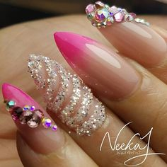 mixed media pink and natural ombre' almond shaped nails