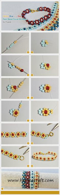 Looking for DIY pearl bracelets for friends? This tutorial will show you how to make light cyan, yellow, blue and red pearl bead flower bracelets. Diy Crafts Jewelry, Bracelet Crafts, Flower Bracelet, Handmade Jewelry, Jewelry Ideas, Beaded Bracelet Patterns, Beaded Bracelets, Pandora Bracelets, Blue Bracelets