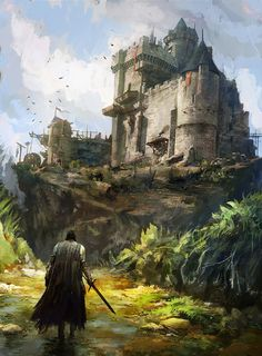 "fantasyartwatch: ""A Walk to the Castle by Alexandre Chaudret """
