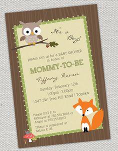 Woodland Animals Baby Shower Invitation by jenrikdesigns on Etsy, $15.00