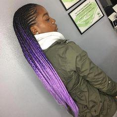 Little Cornrows with Box Braids # singles - Best Cornrow Hairstyles Small Cornrows, Cornrows With Box Braids, Small Box Braids, Short Box Braids, Jumbo Box Braids, Braids For Long Hair, Micro Braids, Purple Box Braids, Ombre Box Braids