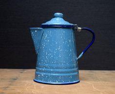 Vintage Enamelware Coffee Pot, Blue Graniteware Coffeepot with Hinged Lid, Enamelware Pitcher, Farmhouse Kitchen