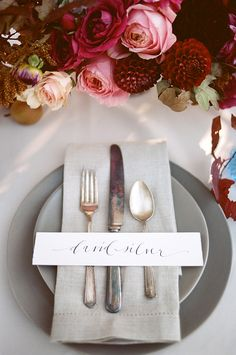Vintage Place Setting with Jewel Tone Flowers | Diana Marie Photography | http://heyweddinglady.com/fall-fruit-berry-bridal-shoot/