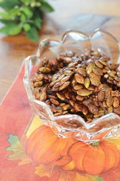 Maple Glazed Pumpkin Seed Clusters - raw pumpkin seeds roasted in coconut oil, coated with fall scented spices, and glazed with pure maple syrup.