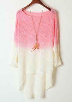 Light Pink Gradient Batwing Long Sleeve Wool Sweater