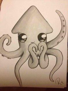 draw easy drawing drawings squid kawaii simple desenhos desenhar zeichnungen animals bff cool animal cartoon sketches something tekenen octopus desenho