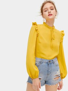 Shop Frill Trim Knot Neck Bishop Sleeve Blouse at ROMWE, discover more fashion styles online. Teen Fashion Outfits, Chic Outfits, Sleeves Designs For Dresses, Fancy Tops, Kurti Designs Party Wear, Blouse Outfit, Floral Dress Outfits, Mode Hijab, Blouse Designs
