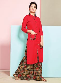 Check out the online collection of Women Indo Western in the Catalog 6688 at Indian Cloth Store. Get Catalog 6688 of Women Indo Western in various designs, colors & sizes. Girls Kurti, Plazzo Suits, Vietnamese Clothing, Hijab Fashion, Fashion Outfits, Pantsuits For Women, Indian Ethnic Wear, Indian Outfits, Dress Patterns