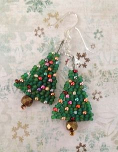 MINI Seed Bead Christmas Tree Earrings by WorkofHeart on Etsy