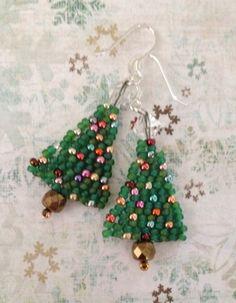 Small Beaded Christmas Tree Earrings Mini Tree by WorkofHeart