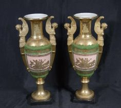 Pair French Sevres Porcelain Vases Urns Winged Maiden Hand Painted