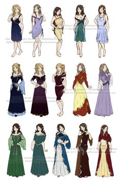 How to Draw Anime Clothes for Girls   Dress n Clothes Designs: P2 - Diferion Royal Women by MaddalinaMocanu