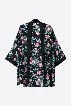 Retro Printed Loose Sleeves Kimono In Black