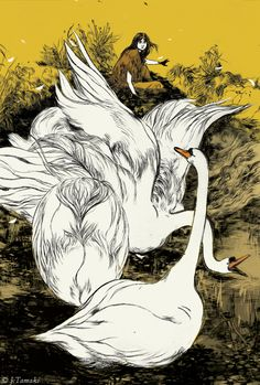 Lady Gregory's tales in a lavish slip-case edition of Irish Myths and Legends (public library) featuring stunning art by Brooklyn-based illustrator and cartoonist Jillian Tamaki.