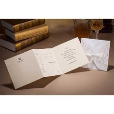 Amazon.com - Wishmade Laser Cut Wedding Invitations White Cards 50 Pieces Set for Marriage Engagement Bridal Shower Handmade with Bowknot Ribbon Envelopes Seals Party Favors -