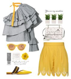 """""""Summer Sunshine"""" by catchsomeraes ❤ liked on Polyvore featuring Rosie Assoulin, Lucy Folk, M2Malletier, Temperley London, Roksanda, Herbivore, Burberry, Gucci, Summer and yellow"""