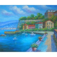 Hand Painted Oil Painting On Canvas Impression Mediterranean Modern Seaside Town