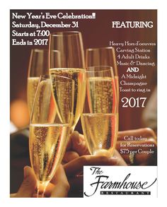 The Farmhouse presents their New Year's Eve Party on Saturday, December 31, 2016.  Celebrate the arrival of 2017 at The Farmhouse. The party includes a DJ, four drink tickets and heavy hors d'oeuvres with a carving station, pasta station, meatballs, shrimp, cheese & fruit.