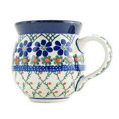 Polish Pottery 11 oz Handmade Bubble Mug Traditional Pattern 070-854