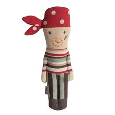 Entertain little ones with the delightful Pirate Rattle designed by Danish lifestyle and toy brand Maileg. A stylish twist on the traditional rattle, this little pirate comes complete with an embroidered scar and polka dot bandana. A gorgeous baby sh Christmas Stocking Fillers, Christmas Stockings, Gris Taupe, Baby Friends, Red Scarves, Babies First Christmas, Baby Kind, Softies, Kids Toys