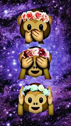 Fondo de emoji monitos (^-^)