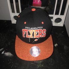 Customized Philadelphia Flyers SnapBack .. get your items customized today! #snapbacks #hats #customizedhats #customized #shimmer #glitter #sparkly #philadelphiaflyers #flyers #snapback #hatlife #kdbcustoms #customized #personalized #creative #philly #sports #mitchellandness #classic #oneofakind