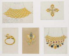 COLLECTION OF DRAWINGS, BULGARI, 1970S & 1980S Pencil, gouache, acrylic and pen on tracing paper  Comprising: twenty-one images in five frames depicting hand coloured designs for jewels to be created with enamel, precious and semi-precious gemstones, some annotated and numbered.