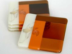 Toasty Warm Fused Glass Coaster Set Fused Glass Plates, Fused Glass Art, Glass Dishes, Glass Fusing Projects, Stained Glass Projects, Glass Fusion Ideas, Glass Artwork, Ceramic Wall Tiles, Glass Coasters