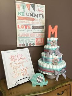 Check out Child bathe decorations, mint and coral, cute, diaper cake, cute...