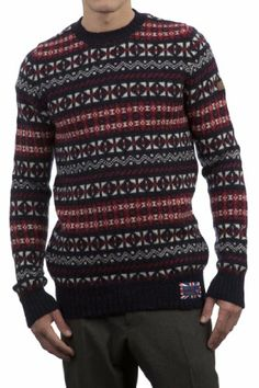 Hawick Knitwear Men's 100% British Wool Fairisle Crew Neck Sweater