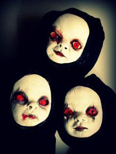 Creepy clay Vampire Baby heads - art dolls